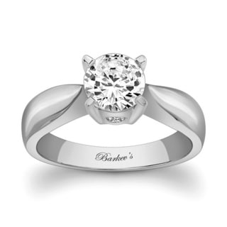 Barkev's Designer 14k White Gold Round-cut Solitaire Diamond Engagement Ring