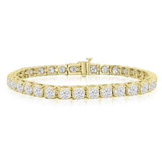 14k Yellow Gold 12 Carat TDW Round Diamond Tennis Bracelet (J-K, I2-I3) - White J-K