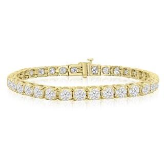 14k Yellow Gold 10 Carat TDW Round Diamond Tennis Bracelet (J-K, I2-I3) - White J-K