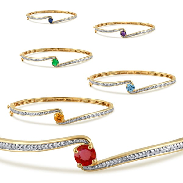 Divina 14k gold plated birthstone and white sapphire fashion bangle