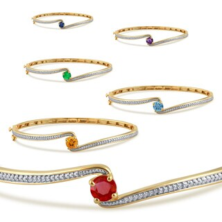 Divina 14k gold plated birthstone and white sapphire fashion bangle (More options available)