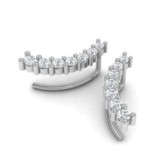 1/2ct Diamond Ear Climbers In 14K White Gold