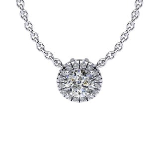 7/8ct Diamond Halo Center Of The Universe Necklace In 14K White Gold (H-I, I1-I2)
