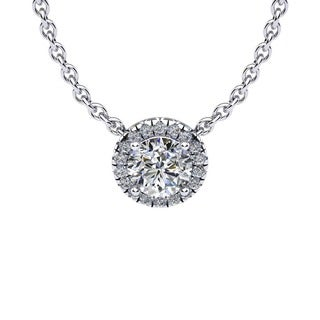 1 1/5ct Diamond Halo Center Of The Universe Necklace In 14K White Gold (H-I, I1-I2)