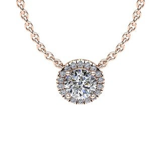 1 1/5ct Diamond Halo Center Of The Universe Necklace In 14K Rose Gold (H-I, I1-I2)