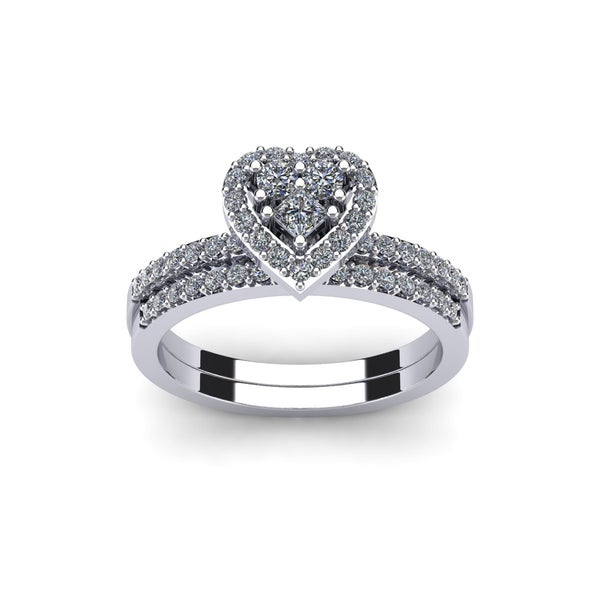 1/2 Carat Heart Shaped Bridal Engagement Ring Set in White Gold - White I-J
