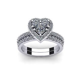 1 Carat Heart Shaped Bridal Engagement Ring Set In 14K White Gold   White  I J