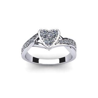 1/2 Carat Heart Shaped Bridal Engagement Ring In White Gold (I1-I2)