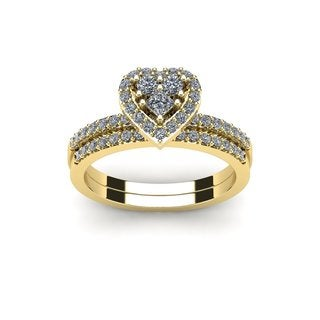 1/2 Carat Heart Shaped Bridal Engagement Ring Set in Yellow Gold (I1-I2)