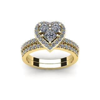1 Carat Heart Shaped Bridal Engagement Ring Set in 14K Yellow Gold - White I-J