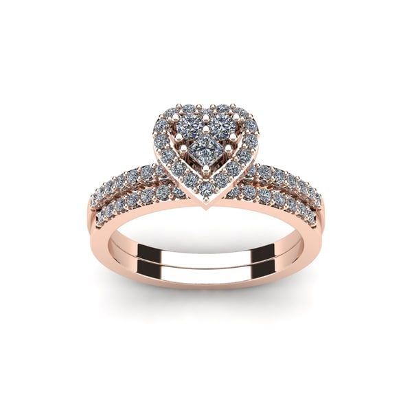 1 2 Carat Heart Shaped Bridal Engagement Ring Set in Rose Gold White I J