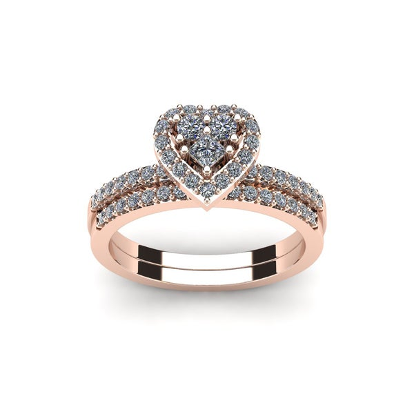 12 carat heart shaped bridal engagement ring set in rose gold - Heart Wedding Ring Set