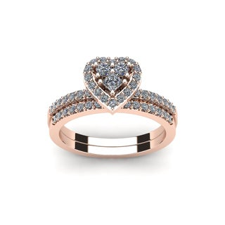 1/2 Carat Heart Shaped Bridal Engagement Ring Set in Rose Gold - White I-J
