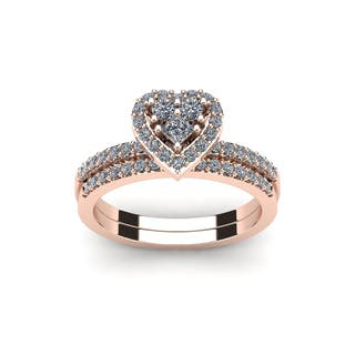 12 carat heart shaped bridal engagement ring set in rose gold white i j - Wedding Engagement Ring Sets