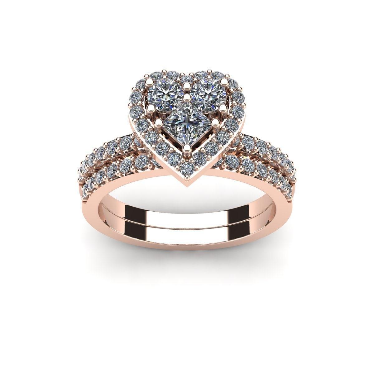 Shop 1 Carat Heart Shaped Bridal Engagement Ring Set In 14k Rose