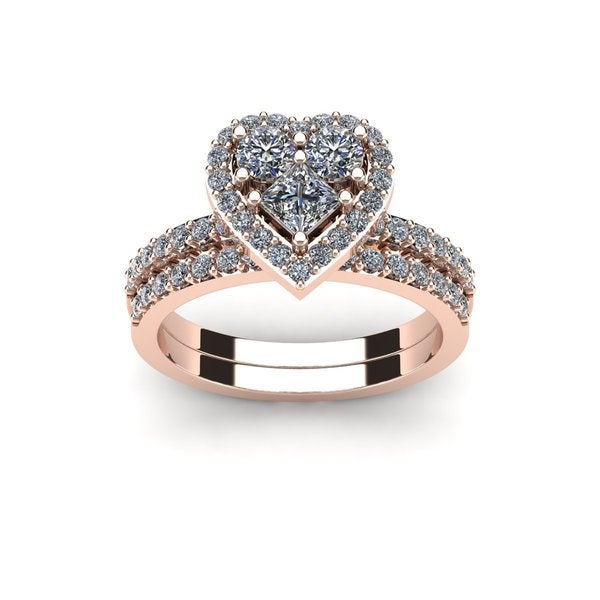 1 Carat Heart Shaped Bridal Engagement Ring Set In 14K Rose Gold   White I J