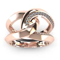 Super Bold And Gorgeous 14K Rose Gold 1/4 Carat Diamond Band - White I-J