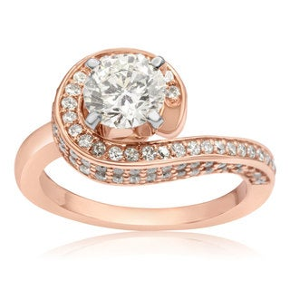 Modern Asymmetrical Round Brilliant 2 Carat Diamond Engagement Ring In 14K Rose Gold