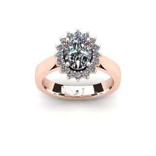 1 1/2ct Oval And Round Diamond Classic Engagement Ring In 14 Karat Rose Gold - White I-J