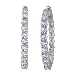 Divina Sterling Silver 1/4ct TDW Inside-out Hoop Earrings (H-I , I2-I3)