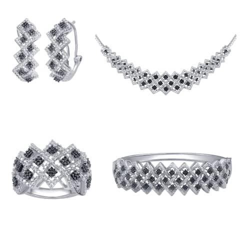 Divina Silver over Brass 1ct TDW White and Black Diamond Jewelry Set (I-J, I2-I3)