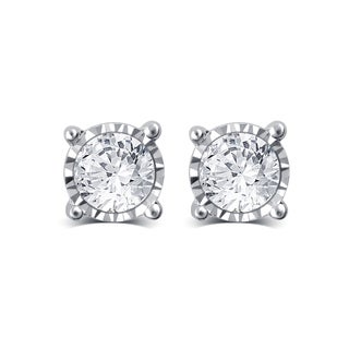 Divina 10k Gold 1/4ct TDW White Diamond Solitaire Stud Earrings