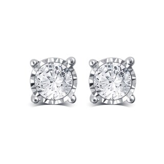 Divina 10k Gold 1/4ct TDW White Diamond Solitaire Stud Earrings (2 options available)