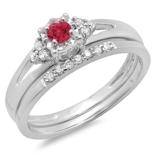 Elora 10k Gold 1/3ct TDW Diamond and Red Ruby Split Shank Bridal Engagement Ring Set (H-I, I1-I2)