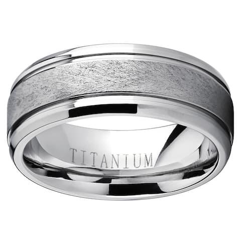 Oliveti Men's Grooved Titanium Textured Brushed Finish Comfort-fit Wedding Band - White