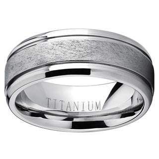 Oliveti Men's Grooved Titanium Textured Brushed Finish Comfort-fit Wedding Band