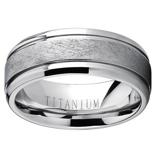 Oliveti Men's Grooved Titanium Textured Brushed Finish Comfort-fit Wedding Band
