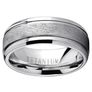Oliveti Men's Grooved Titanium Textured Brushed Finish Comfort-fit Wedding Band - White