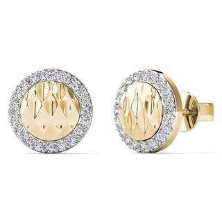 AALILLY 10k Yellow Gold 1/8ct TDW Diamond Round Stud Earrings (H-I, I1-I2)