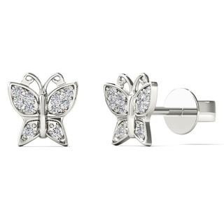 AALILLY 10k White Gold Diamond Accent Elegant Butterfly Stud Earrings