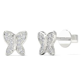 10k White Gold Diamond Accent Butterfly Stud Earrings