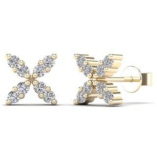 AALILLY 10k Yellow Gold 1/8ct TDW Diamond Classic Butterfly Stud Earrings (H-I, I1-I2)
