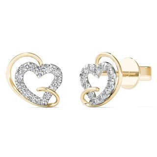 10k Yellow Gold 1/8ct TDW Diamond Heart Stud Earrings (H-I, I1-I2)