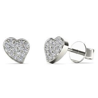 AALILLY 10k White Gold 1/10ct TDW Diamond Heart Stud Earrings (H-I, I1-I2)