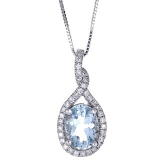 Anika and August 14k White Gold Oval-cut Brazilian Aquamarine and Diamond Pendant