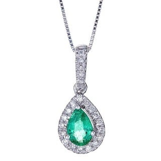 Anika and August 14k White Gold Pear-cut Zambian Emerald and Diamond Pendant