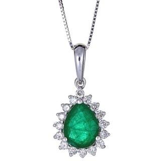 Anika and August 18k White Gold Pear-cut Zambian Emerald and Diamond Pendant