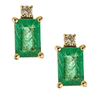 Anika and August 14k Yellow Gold Emerald-cut Zambian Emerald and Diamond Earrings