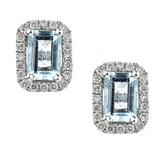 Anika and August 14k White Gold Emerald-cut Brazilian Aquamarine and Diamond Earrings