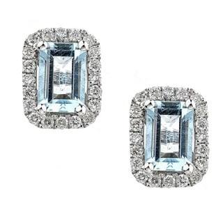 Anika and August 14k White Gold Emerald-cut Brazilian Aquamarine and Diamond Earrings