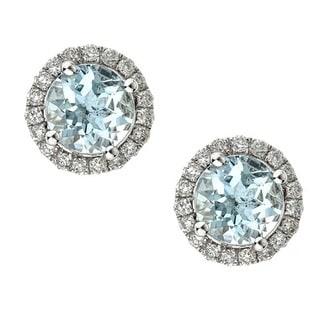 Anika and August 14k White Gold Round-cut Brazilian Aquamarine and Diamond Earrings