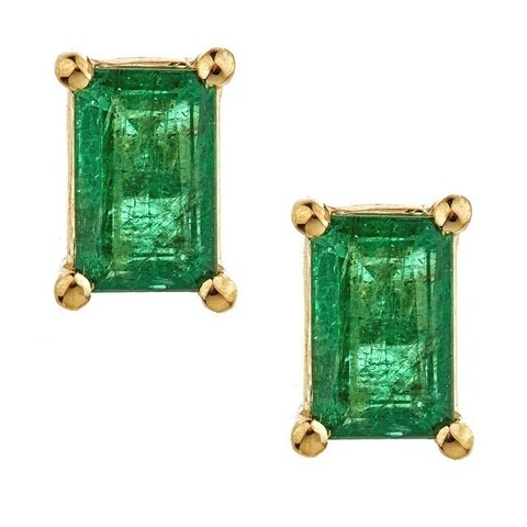 Anika and August 14k Yellow Gold Emerald-cut Emerald Earrings