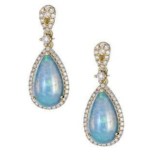 Anika and August 14k Yellow Gold Pear-cut Genuine Ethiopian Opal and Diamond Earrings
