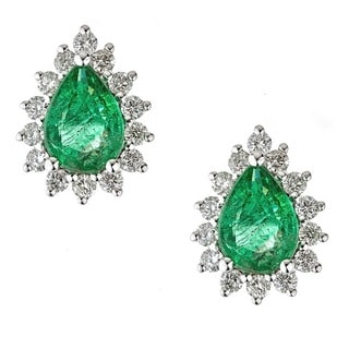 Anika and August 18k White Gold Pear-cut Emerald and Diamond Earrings