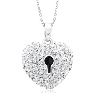 Rhodium-plated Crystal and Enamel Heart Lock Necklace