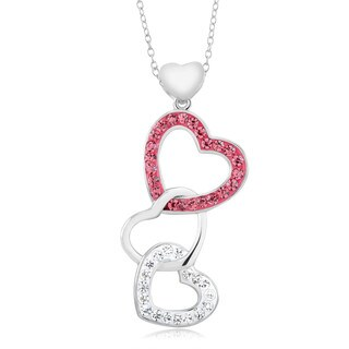 Rhodium-plated Pink Crystal Triple Hearts Necklace